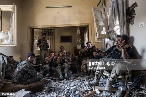 Qamishlo unit of SDF fighter are taking a rest before a new attack at the evening The Syrian civil war has been carried on for more than 6 years and...