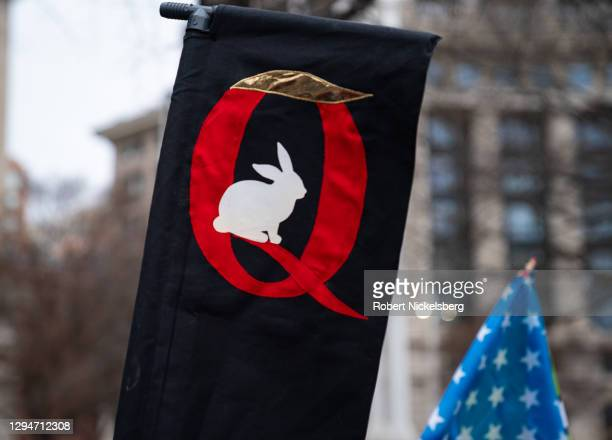 Anon sign is seen as President Donald Trump supporters hold a rally on January 5, 2021 in Washington, DC. Today's rally kicks off two days of...