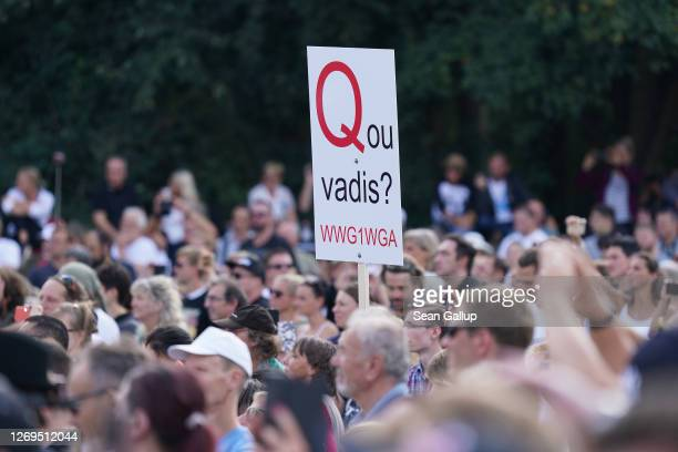 QAnon supporter stands among people from a wide spectrum, including coronavirus skeptics, conspiracy enthusiasts, hippies, right-wing extremists,...