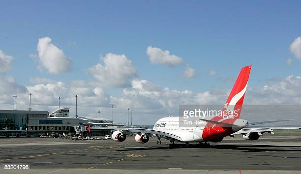 Qantas A380 Airbus taxis to the runway at Auckland International Airport October 10 2008 in Auckland New Zealand The promotional visit by the world's...