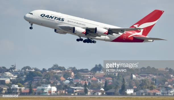 A Qantas Airbus A380 takes off from the airport in Sydney on August 25 2017 Australia's Qantas unveiled plans for the world's longest nonstop...