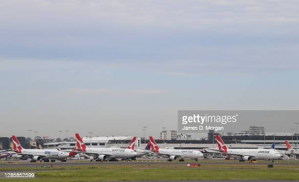 Qantas aircraft on the tarmac at Sydney's Kingsford Smith Airport on November 16, 2020 in Sydney, Australia. Australia's national airline Qantas is...