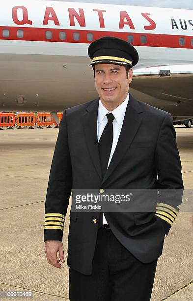 Qantas Ambassador John Travolta arrives at Qantas' 90th birthday celebrations at Sydney International Airport on November 6 2010 in Sydney Australia