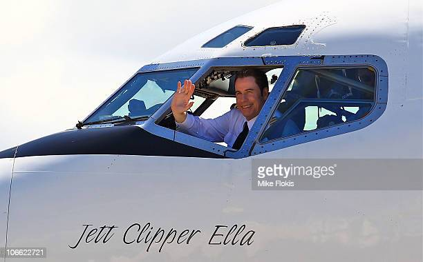 Qantas Ambassador John Travolta arrives in his VJet 707 at Qantas' 90th birthday celebrations at Brisbane Airport on November 7 2010 in Brisbane...