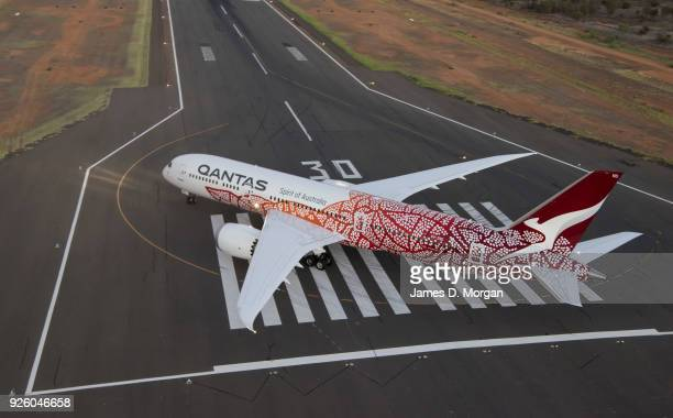 Qantas Boeing 787 Dreamliner taxis after landing on March 2 2018 in Alice Springs Australia The special livery honours the work of late Northern...