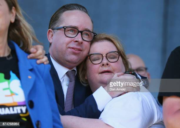 Qantas CEO Alan Joyce and Magda Szubanski share a moment upon hearing the result announcement on November 15 2017 in Sydney Australia Australians...