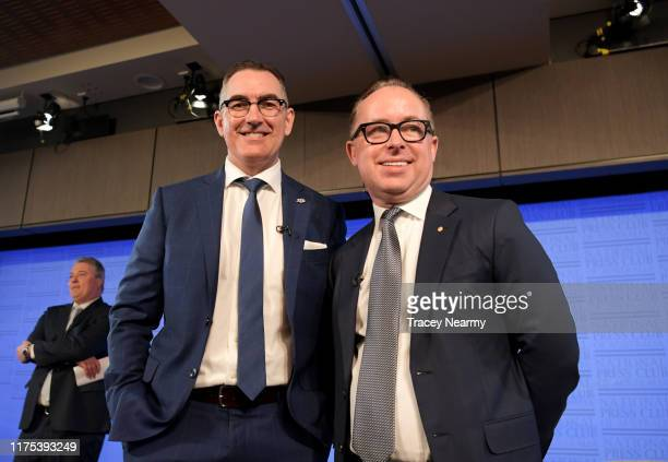 Qantas CEO Alan Joyce And Virgin Australia CEO Paul Scurrah arrive at National Press Club on September 18 2019 in Canberra Australia The CEOs of...