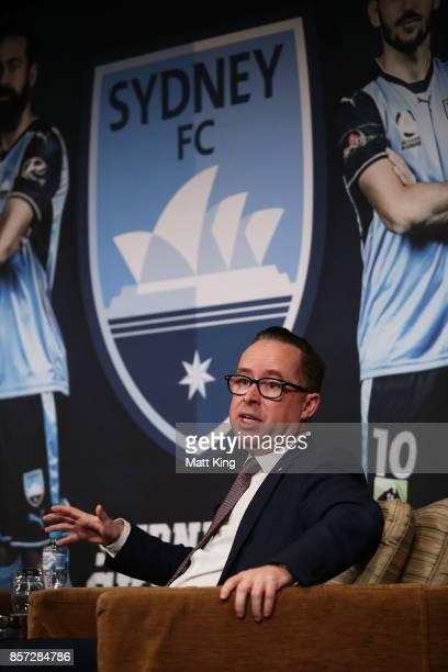 Qantas CEO Alan Joyce speaks during the Sydney FC 2017/18 ALeague Season Launch at the Westin on October 4 2017 in Sydney Australia