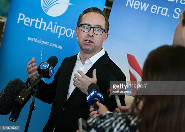 Qantas CEO Alan Joyce speaks to media at the launch of the new nonstop Perth to London Route commencing in 2018 on December 11 2016 in Perth Australia