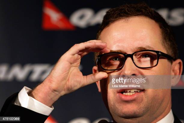 Qantas Chief Executive Alan Joyce announces the QANTAS half year results during a press conference at The Westin on February 27 2014 in Sydney...