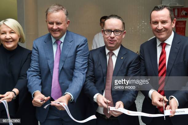 Qantas chief executive Alan Joyce Western Australian Premier Mark McGowan and politician Anthony Albanese officially open the new transit lounge at...