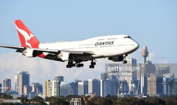 Qantas flight number 4 from Honolulu a Boeing 747400 aircraft arrives at Sydney Airport on September 30 2018 in Sydney Australia The Boeing 747 the...