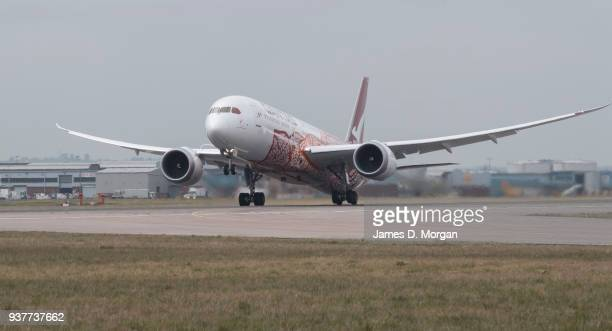 Qantas flight QF10 takes off from Heathrow en route to Perth Australia on March 25 2018 in London United Kingdom The Boeing 787 Dreamliner will fly...