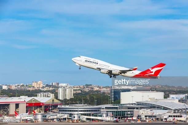 Qantas Longreach 747 airplane departing Sydney Airport