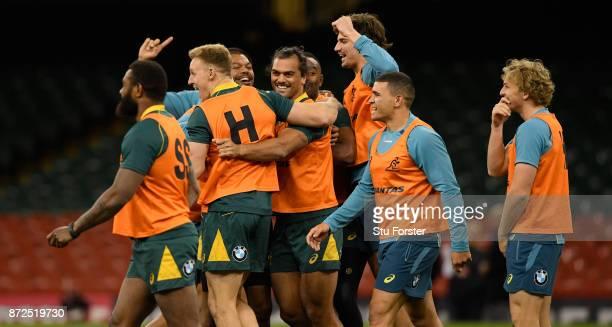 Qantas Wallabies player Karmichael Hunt enjoys a joke with team mates during the Australia Captain's Run ahead of their match tomorrow against Wales...