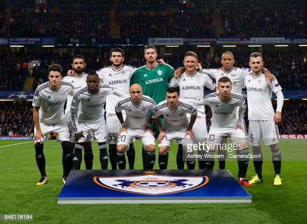 Qarabag FK line up before the UEFA Champions League group C match between Chelsea FC and Qarabag FK at Stamford Bridge on September 12 2017 in London...