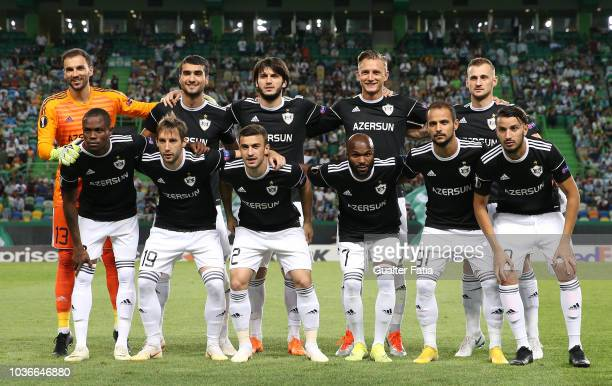 Qarabag FK players pose for a team photo before the start of the UEFA Europa League Group E match between Sporting CP and Qarabag FK at Estadio Jose...