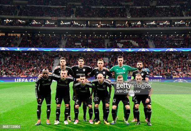 Qarabag squad lineup before the UEFA Champions League football match Club Atletico de Madrid vs Qarabag FK at the Wanda Metropolitano stadium in...