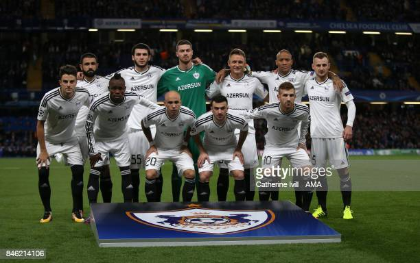 Qarabag team group photo during the UEFA Champions League group C match between Chelsea FC and Qarabag FK at Stamford Bridge on September 12 2017 in...