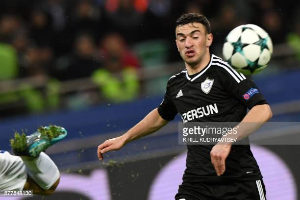 Qarabag's defender from Azerbaijan Gara Garayev in action during the UEFA Champions League Group C football match between Qarabag FK and Chelsea FC...