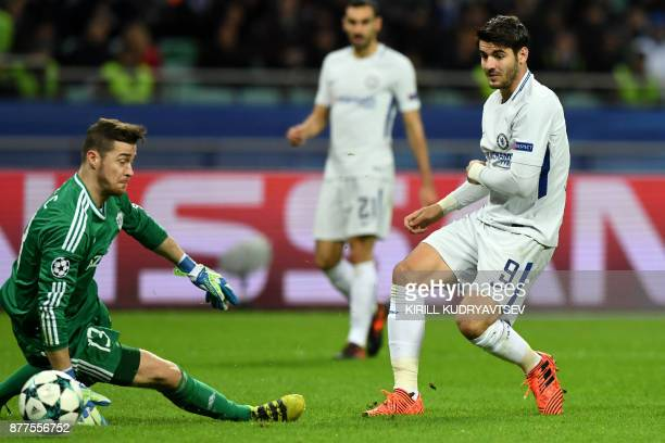 Qarabag's goalkeeper from BosniaHerzegovina Ibrahim Sehic and Chelsea's forward from Spain Alvaro Morata in action during the UEFA Champions League...
