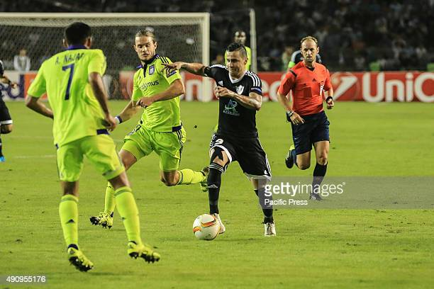 Qarabag's Reynaldo vies for the ball with Anderlecht's Andy Najar during the UEFA Europa League group J football match between Qarabag FK and RSC...
