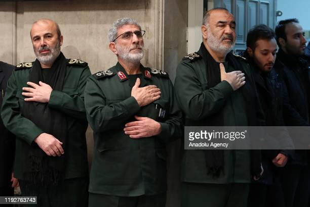 Qasem Soleimani's long-time lieutenant and the new leader of Quds Force Gen. Esmail Qaani , Commander of the Iranian Revolutionary Guards Hossein...