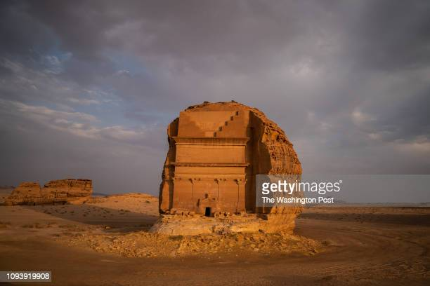 Qasr al-Farid, an unfinished tomb in Madain Saleh that was built by the Nabataean people is seen on Wednesday, September 26 in Al Ula, Al Madinah...