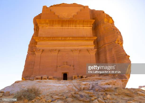 Qasr al-Farid tomb of Lihyan son of Kuza in Madain Saleh, Al Madinah Province, Alula, Saudi Arabia on December 28, 2019 in Alula, Saudi Arabia.