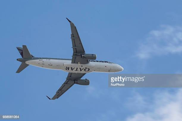 A Qatar Airbus A320 is landing in Thessaloniki Greece as it is performing the first flight from Doha Qatar to Thessaloniki Greece on 27 March 2018...