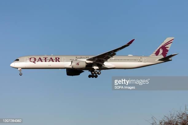 Qatar Airways Airbus 350-1000 lands at London Heathrow airport.