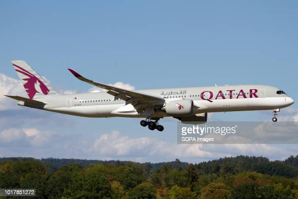 Qatar Airways Airbus 350900 landing at Zurich Kloten airport
