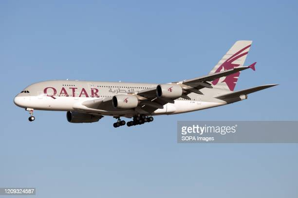 Qatar Airways Airbus 380 lands at London Heathrow airport