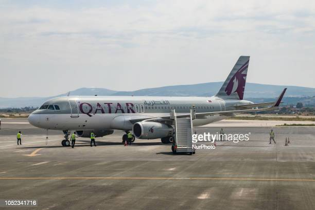 Qatar Airways Airbus A320200 with registration A7AHX as seen in Thessaloniki Greece Qatar began the connection between Doha Qatar and Thessaloniki...