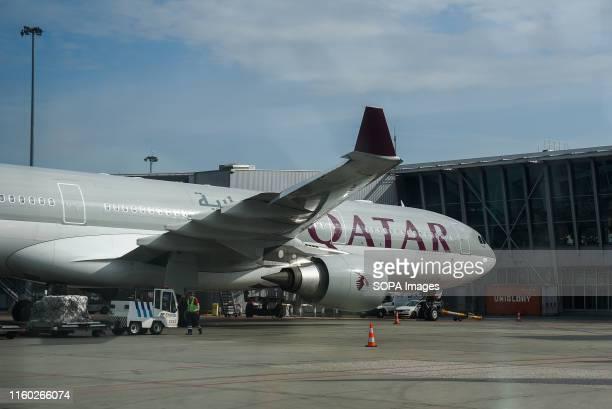 Qatar Airways Airbus A330 Aircraft seen at the Warsaw Chopin Airport.