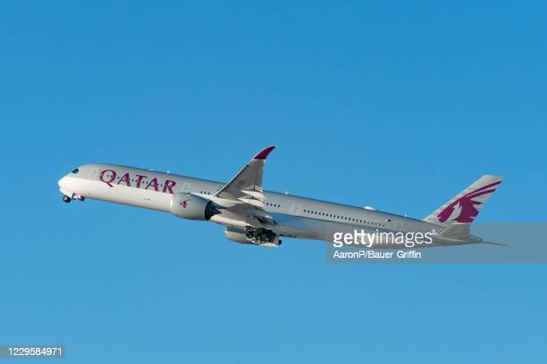 Qatar Airways Airbus A350-1041 takes off from Los Angeles international Airport on November 11, 2020 in Los Angeles, California.