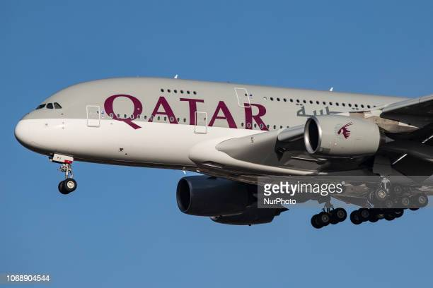 Qatar Airways Airbus A380-800 double decker airplane landing at Heathrow Airport in London, UK. The aircraft was delivered in April 2018 and is an...