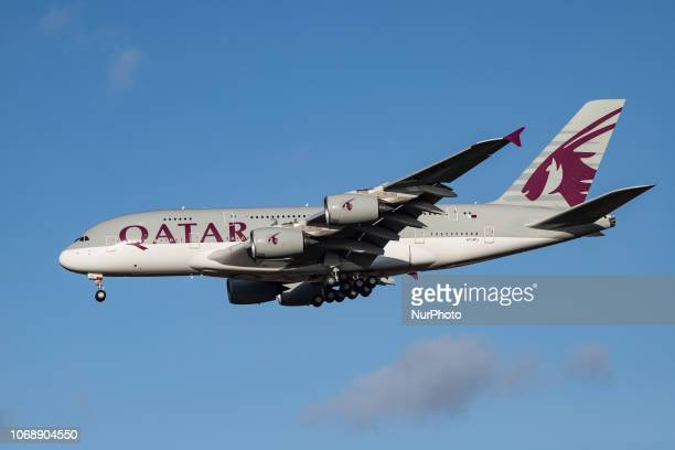 Qatar Airways Airbus A380800 double decker airplane landing at Heathrow Airport in London UK The aircraft was delivered in April 2018 and is an...