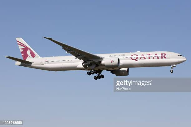 Qatar Airways Boeing 777 lands at London Heathrow Airport, England on Monday 14th September 2020.