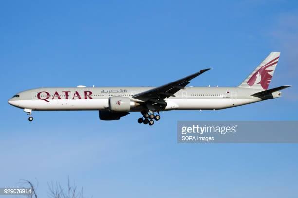 Qatar Airways Boeing 777300ER about to land at London Heathrow airport