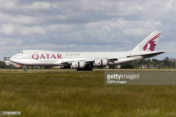 Qatar Airways Cargo Boeing 747800F just landed at Amsterdam Schiphol airport
