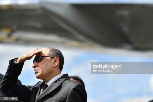 Qatar Airways CEO Akbar Al Baker looks on during the launch of the Gulfstream G500 Executive Jet at the Farnborough Airshow south west of London on...