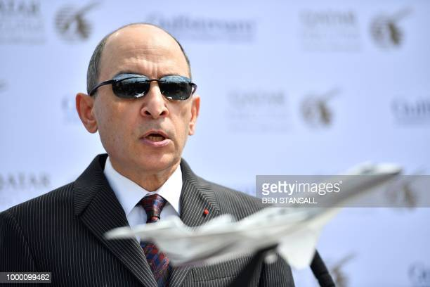 Qatar Airways CEO Akbar Al Baker speaks during the launch of the Gulfstream G500 Executive Jet at the Farnborough Airshow south west of London on...