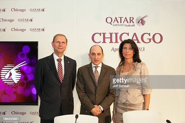 Qatar Airways CEO Mr Akbar Al Baker addresses media about the airline's global expansion plans on the sidelines of the Chicago route launch with...
