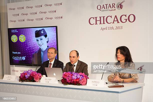Qatar Airways CEO Mr Akbar Al Baker answers questions from local and international media at a press conference today in Chicago with Qatar Airways...