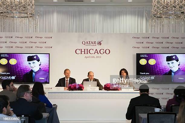 Qatar Airways CEO Mr Akbar Al Baker gives a presentation to local Chicago and international media with Qatar Airways Senior Vice President for the...