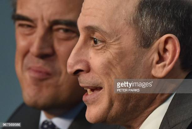 Qatar Airways chief executive Akbar Al Baker and International Air Transport Association chief executive Alexandre de Juniac attend a press...