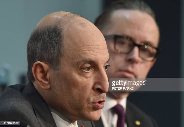 Qatar Airways chief executive Akbar Al Baker and Qantas chief executive Alan Joyce attend a press conference at the International Air Transport...