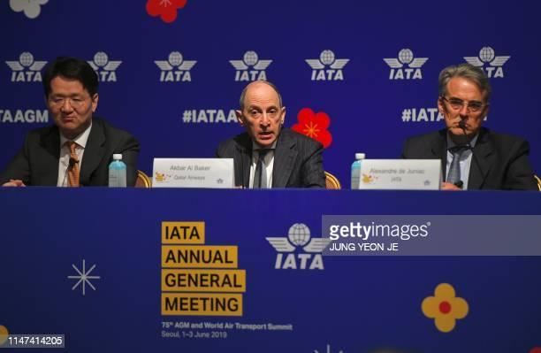 Qatar Airways chief executive Akbar Al Baker speaks as International Air Transport Association chief executive Alexandre de Juniac and Korean Air...