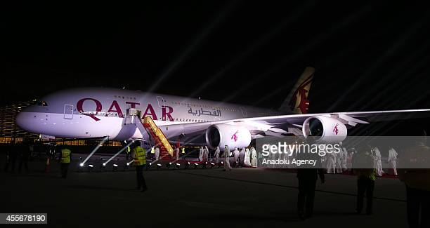 Qatar Airways' first Airbus A380 is seen during a ceremony at Hamad International Airport in Doha, Qatar on September 18, 2014. Qatar Airways' Airbus...
